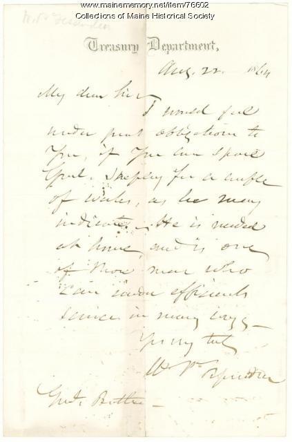 W.P. Fessenden to Gen. Benjamin Butler, Washington, D.C., 1864