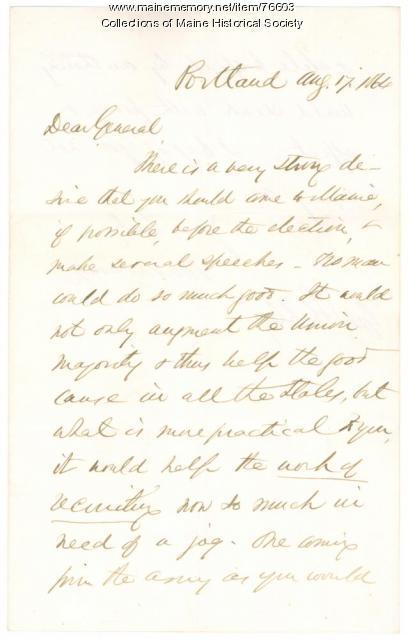 Israel Washburn plea to Gen. Shepley, Portland, 1864