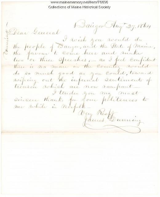 James Dunning plea to Gen. Shepley, Bangor, 1864