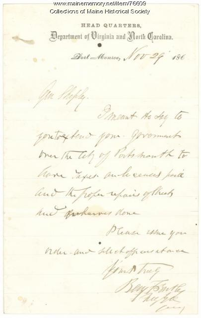 Gen. Butler to Gen. Shepley on duties in Virginia, 1864