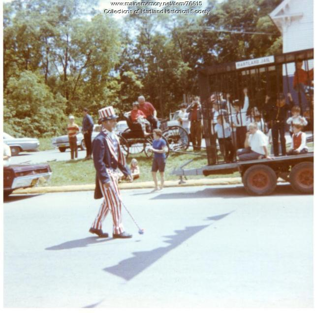 Uncle Sam in Sesquicentennial Senior Parade, Hartland, 1970