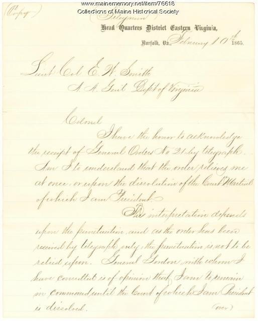 Gen. Shepley on loss of command, Virginia, 1865