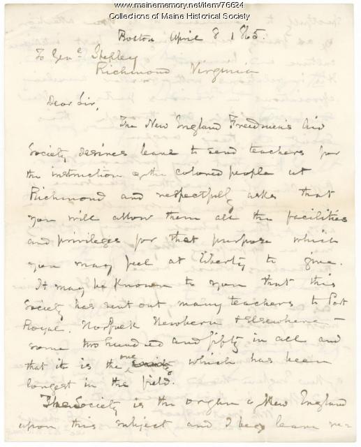 Request to send Freedmen's teachers to Richmond, 1865