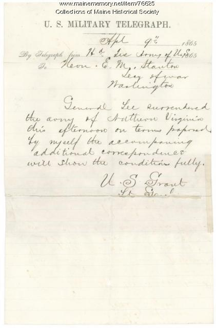 Copy of Grant telegraph on Lee surrender, 1865