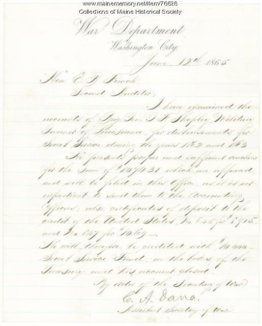 Acceptance of Brig. Shepley resignation, Washington, 1865