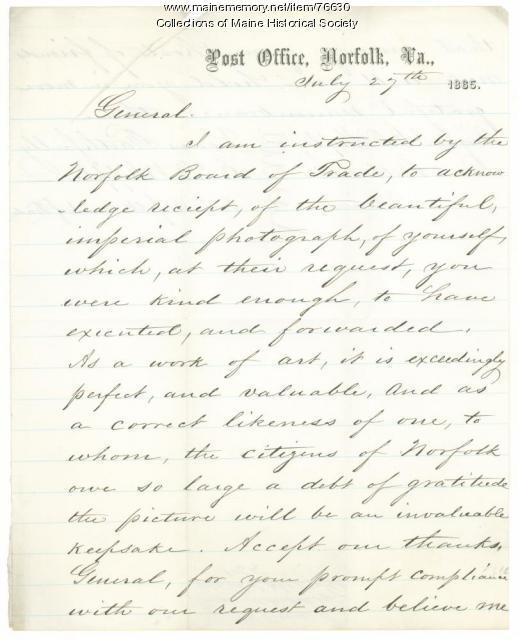 Thanks for Shepley photograph, Norfolk, Va., 1865