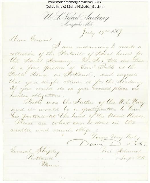 Naval Academy request for Preble portrait, 1867