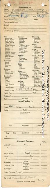 Assessor's Record, 790-792 Stevens Avenue, Portland, 1924