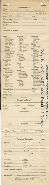Assessor's Record, 18-62 St. James Street, Portland, 1924