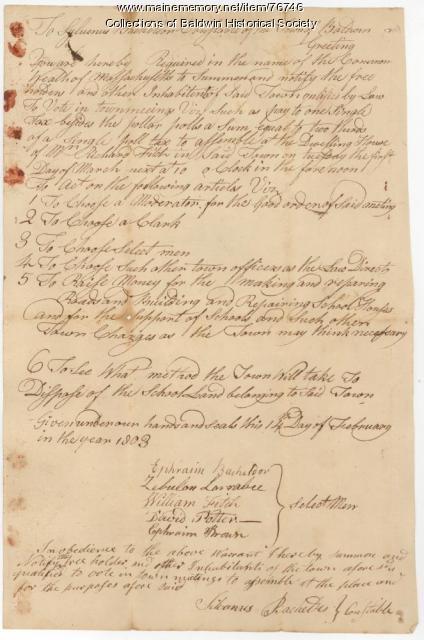 Baldwin, Town Meeting Warrant, 1803