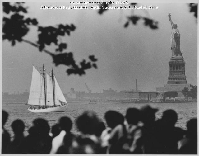 'Bowdoin' at Statue of Liberty, New York, 1986
