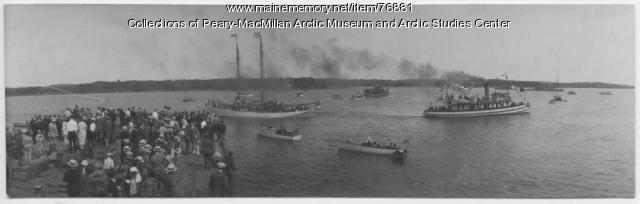 'Bowdoin' and S.S. 'Peary' departing from Wiscasset, 1925