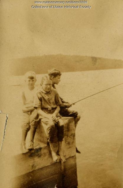Fishing at nutrition camp, Casco, 1925