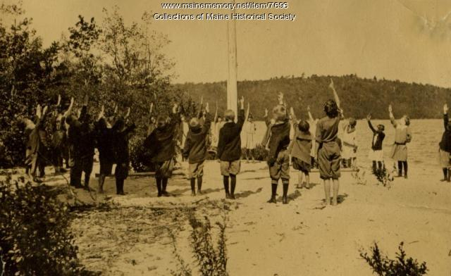 Flag salute at nutrition camp, Casco, Maine 1925