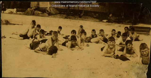 The beach at nutrition camp, Casco, 1925