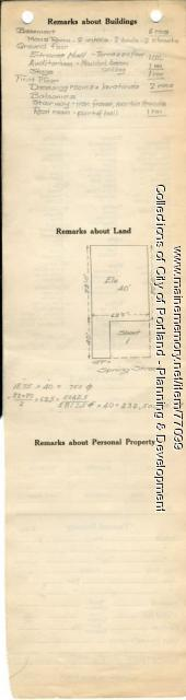 Assessor's Record, 76 Spring Street, Portland, 1924