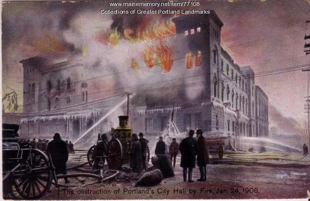 Destruction of Portland City Hall, ca. 1908
