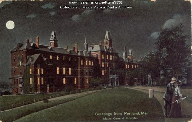Maine General Hospital in moonlight, Portland, ca. 1909