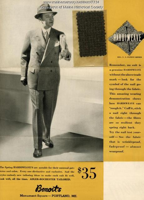 Hardiweave suits advertising brochure