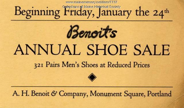 Benoit's shoe sale advertising card