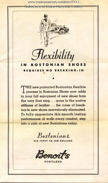 Benoit's advertising brochure for Bostonian shoes