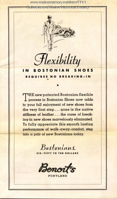 Benoit's advertising brochure for Bostonian shoes