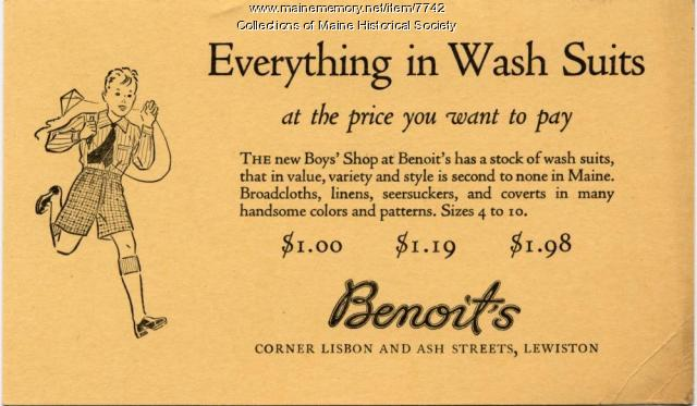Advertisement for Benoit's