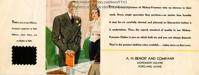 Hickey-Freeman suits advertising card