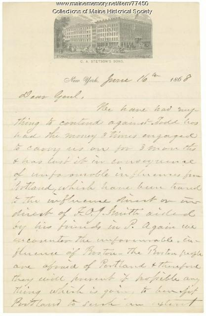 Letter to G.F. Shepley on interference in business plan, New York, 1868