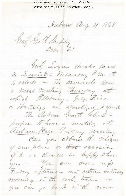Request for G.F. Shepley speech in Lewiston, 1868