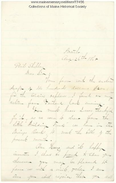 Letter of thanks for donation for orphans, Bath, 1868