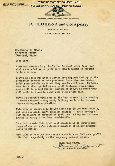 Letter to George H. Abbott from H. A. Benoit, Portland, ca. 1950