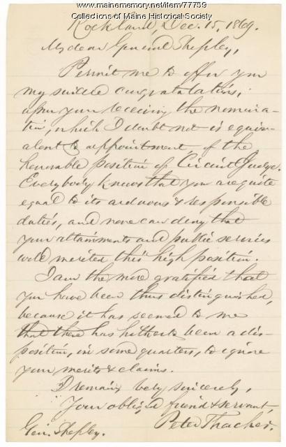 Peter Thacher congratulations to G.F. Shepley, Rockland, 1869