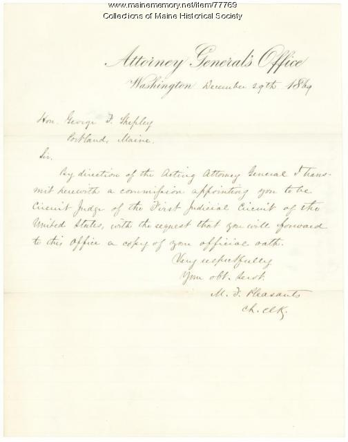 G.F. Shepley appointment as circuit judge, Washington, 1869