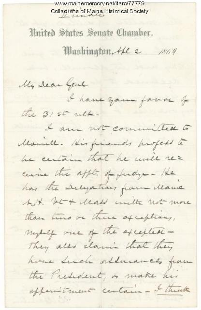 Sen. Hamlin to G.F. Shepley on judgeship, Washington, 1869