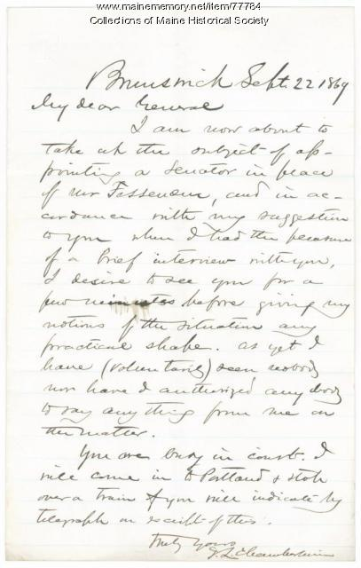 J.L. Chamberlain letter on Senate seat, Brunswick, 1869