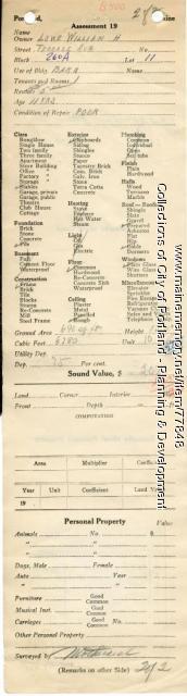 Assessor's Record, Barn, Terrace Avenue, Portland, 1924