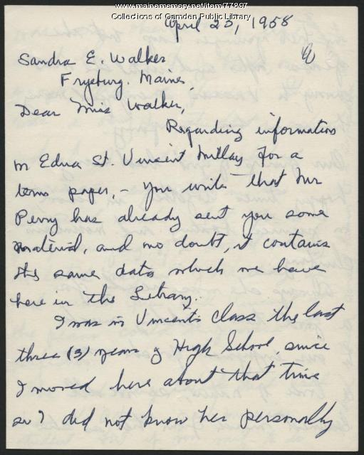 Letter from Corinne Sawyer to Sandra E. Walker, 1958