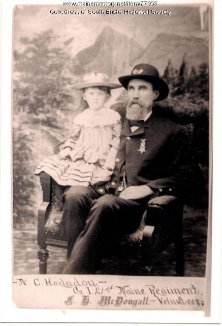 Nathan C. Hodgdon with granddaughter, Walpole, ca. 1887