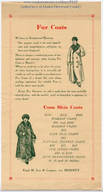 Fur Coats advertisement, Benoit's, ca. 1930