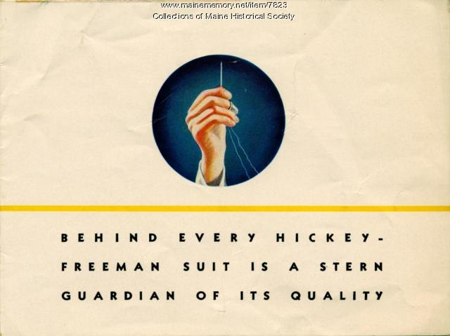 Hickey Freeman suit advertising card, ca. 1930