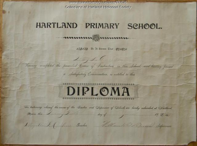 Hartland Primary School Diploma, 1897