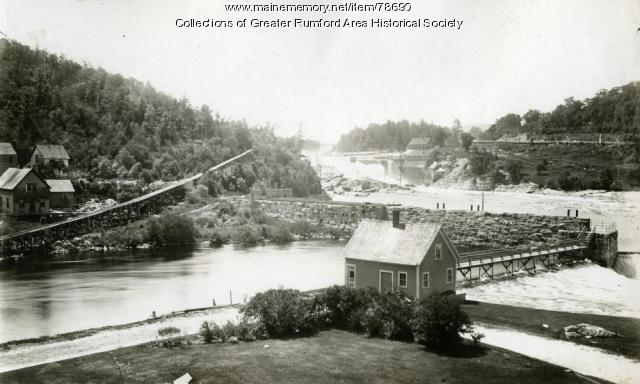 Sluice along the dam at Rumford Falls, 1906