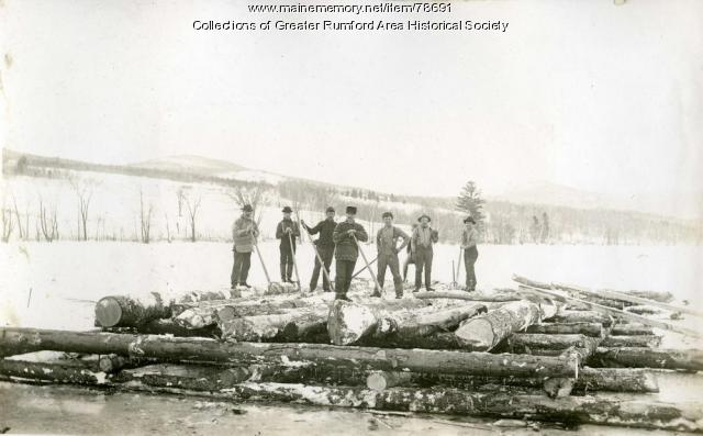 Boom pier construction, Rumford, 1893