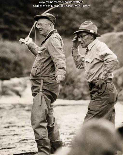 President Dwight D. Eisenhower fishing, Little Boy Falls, 1955