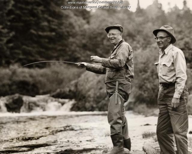 President Dwight D. Eisenhower fishing at Little Boy Falls, Oxford, 1955