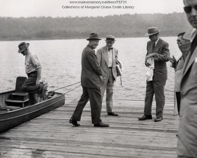 President Dwight D. Eisenhower preparing to board a boat, Rangeley Lakes, 1955
