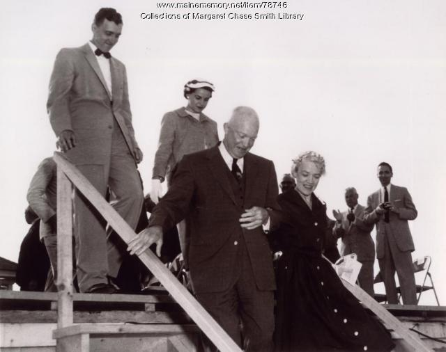 President Dwight Eisenhower, Senator Smith and Governor and Mrs. Muskie, Skowhegan Fair Grounds, 1955