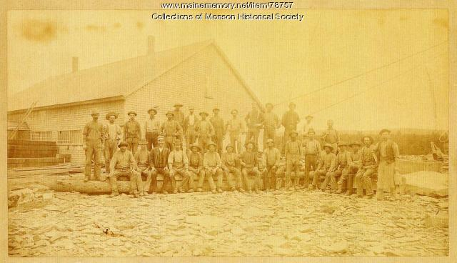 Slate Quarry workers posing for group photo, Monson, ca. 1890