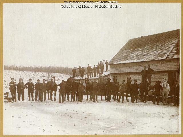 Slate Quarry Workers and Work Horses, Monson, ca. 1900